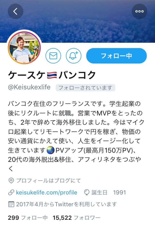 ケースケさんのTwitterプロフィール