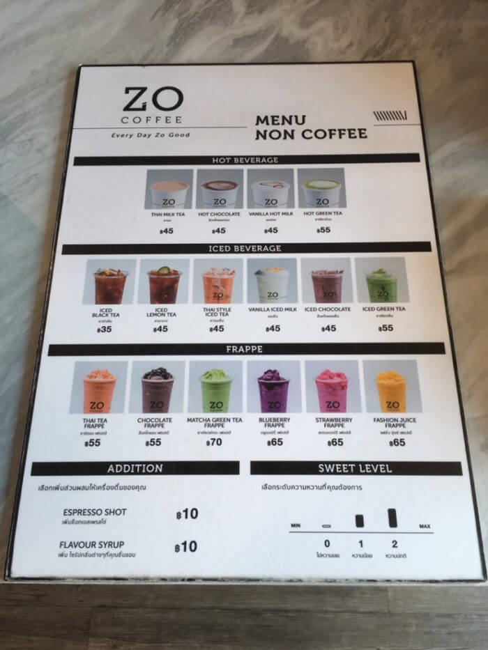 ZO COFFEEのメニュー(ノンコーヒー)